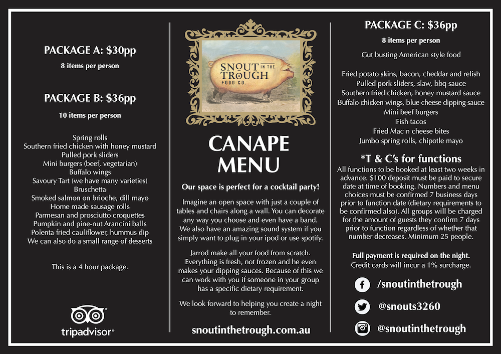 Functions Canapes Menu